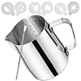 Milk Frothing Pitcher(12oz/350ml)Milk Frother Cup& Pitchers Stainless Steel Milk Coffee,Frothing Pitcher 12oz Easy To Read Creamer Measurements Inside,Suitable For Espresso,Cappuccino Latte Wait