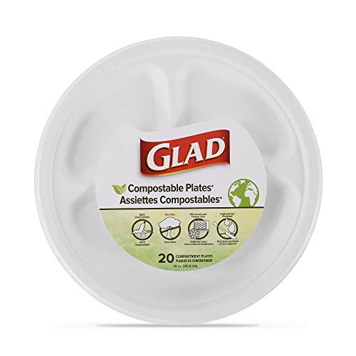 Compostable Compartment Plates | 10-Inch Divided Plates, 20 Count | Sugarcane Plates, Microwavable and Freezer Safe, Leak & Cut-Resistant Disposable Plates| Paper Plates 10 Inch, Divided Paper Plates