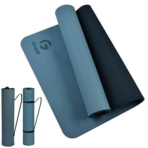 Gruper Yogamatte rutschfest,TPE Trainingsmatte rutschfest und Fitnessmatte+Trageband + Tasche, Gymnastikmatte (183 x 61 x 0,6 cm)