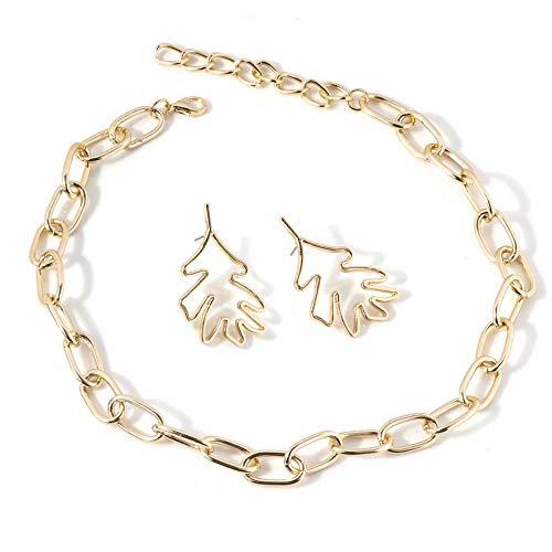 Metalen gouden ketting ketting punk blad oorbellen sieraden set voor vrouwen meisjes 18,45