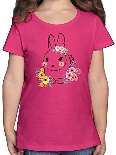 Ostern Kinder - Hase mit Blumen - Schwarze Linien - 152 (12/13 Jahre) - Fuchsia - Tshirt mädchen 164 - F131K - Mädchen Kinder T-Shirt