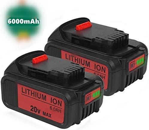 2PACK 6.0Ah DCB205 Battery Replacement for Dewalt 20 Volt Battery DCB200 DCB206 DCB206-2 DCB204 DCB204BT-2 DCB203 DCB201