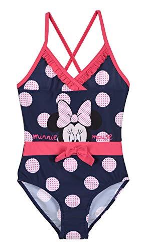 Badeanzug, bedruckt, große Punkte, für Kinder, Mädchen, Minnie Disney, Rosa und Marineblau, von 3 bis 8 Jahren Gr. 8 Jahre, marine
