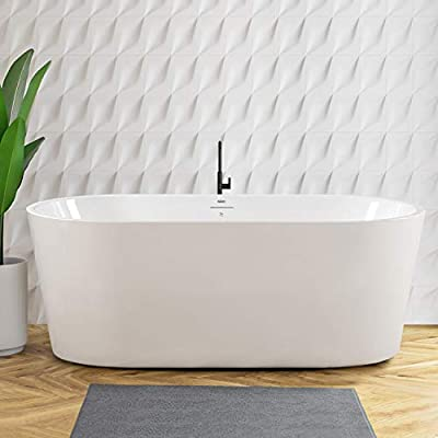 """FerdY Shangri-La 59""""x30"""" Freestanding Bathtub, Modern Oval Acrylic Soaking Bathtub with Brushed Nickel Drain & Integrated Slotted Overflow, Glossy White, cUPC Certified, 02522"""