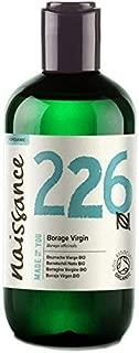 Naissance Organic Virgin Borage Oil 8 fl oz - Naturally High in GLA (Gamma-Linolenic Acid) Pure, UK Certified Organic, PA Free, Cold Pressed & Vegan - Balancing & Nourishing Moisturizer
