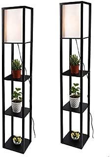 Simple Design Shelf Floor Lamp, White Shade, 63 Inch Height, with Open-Box Shelves, Black, 2 Pack…