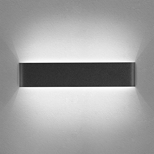 Yafido Aplique Pared Interior LED 40CM Lámpara de pared Moderna Negro Blanco Frío perfecto para Salon Dormitorio Sala Pasillo Escalera 220V