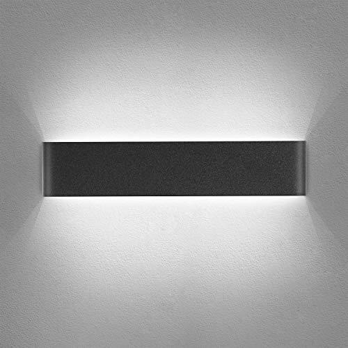 Yafido Wandleuchte Innen LED 40CM Wandlampe Up Down wandbeleuchtung Schwarz Wandstrahler 14W Kaltweiß 6000K für Schlafzimmer Wohnzimmer Flur Treppen 230V