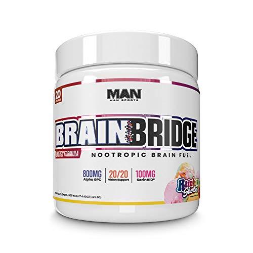 Man Sports Brainbridge - Rainbow Sherbet Flavored Nootropic for Mental Alertness and Focus (20 Servings)
