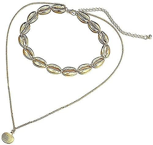 Collar de playa de verano de doble capa, collar con colgante de concha marina, collar de concha de color dorado para mujer, accesorios de joyería, collar para mujeres, hombres, regalos, regalo