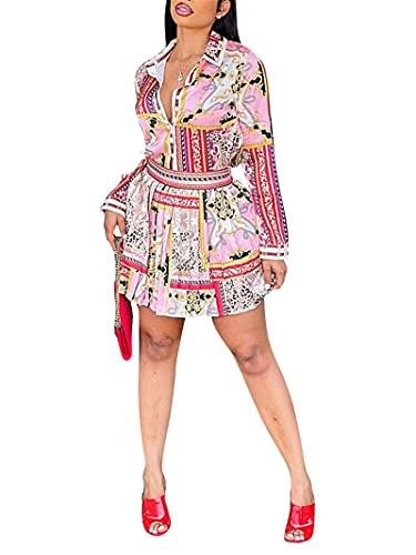 Women's 2 Piece Skirt Sets Sexy Long Sleeve V Neck Blouse...