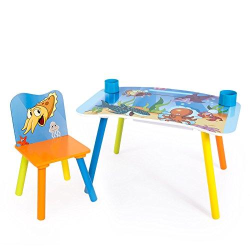 Homestyle4u 1123 Kindersitzgruppe Meer Fische, Kindermöbel Set aus 1 Kindertisch und 1 Stuhl mit Papierrolle, Holz Blau