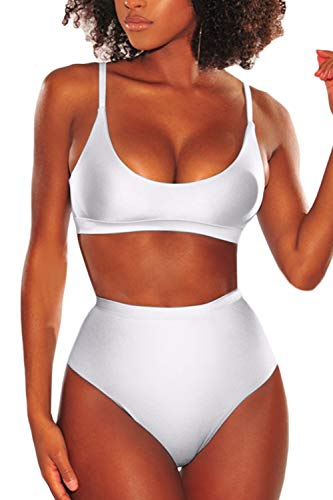 LEISUP Plus Size Womens Removable Pad Low Cut Neck Swimsuit High Waist Thong Bathing Suit,XL White