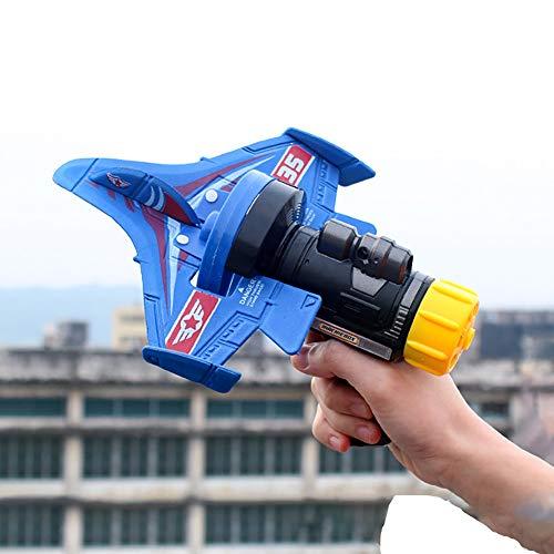Burbuja De Un Solo Clic Catapult Plano, Modelo De Eyección Lanzando A Mano Slalom Catapult Foam Airplane Niños Al Aire Libre Pistola Lanzador Avión De Deslizamiento,Azul