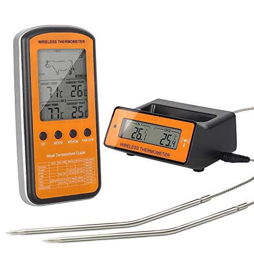 Fleisch-Thermometer,Digital drahtloser BBQ, der Thermometer mit Doppelfühler, Nahrungsmittelthermometer mit LCD-Bildschirm-Fernmonitor u. Warnung für Hauptküche-Ofen-Grill-Innenkochen im Freien kocht