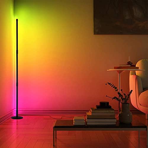 LED Stehlampe mit Fernbedienung, 20W Dimmbare Stehlampe für Modernes Wohnzimmer Schlafzimmer, RGB Farbe Wechselnde Atmosphäre Lichtsäule, RGB Helligkeit Kontinuierlich Ecke Stehlampe(Runden)