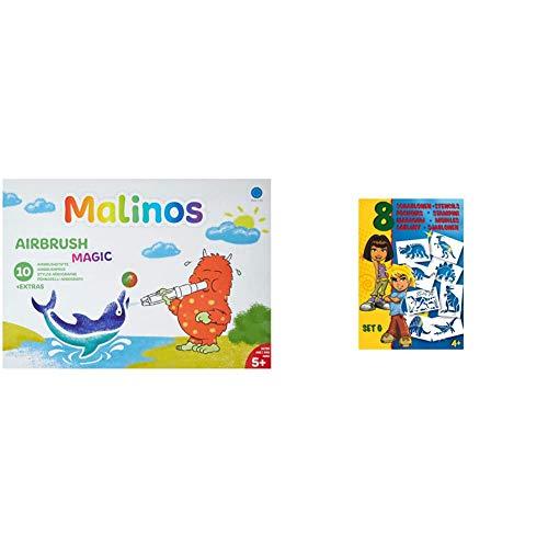 MALINOS 300964 Airbrush-Magie Stifte, 10+ extra & AMEWI 301003 Stifte Malinos Airbrush Schablonen Set G Dinosaurier