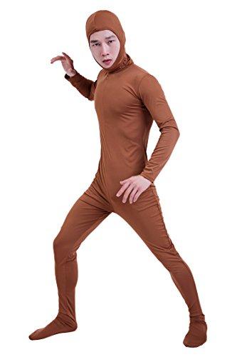 『コスチューム 全身タイツ 茶色 レディース Sサイズ 顔部分があいている 着ぐるみ (SS03-2H)』の1枚目の画像