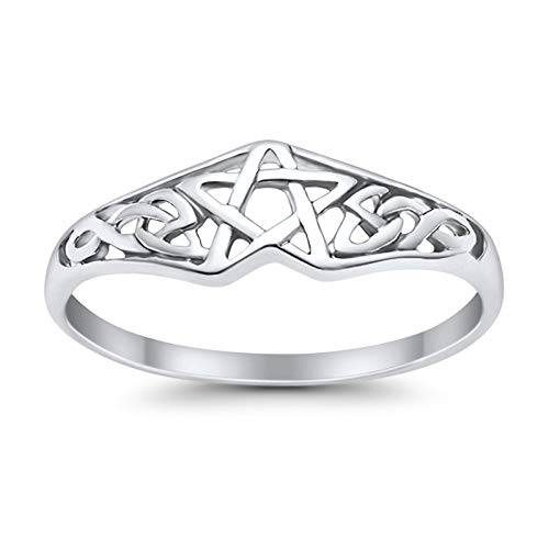 Blue Apple Co. Sterling Silver Size-11 Pentagram Star Band Ring Celtic Filigree Design Round 925 Sterling Silver