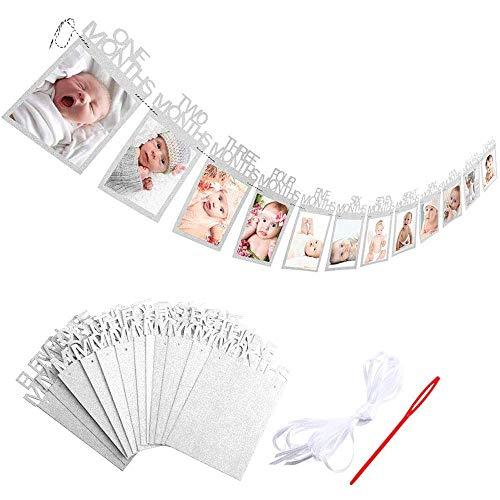 Bilderrahmen Banner zum zuerst Geburtstag, Baby 1-12 Monate Foto Girlanden aus Glitter Karte Papier für Babydusche Party Deko, Kinderzimmer Party Prop. (Silber)