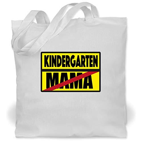 Kindergarten - Kindergarten Schild Mama - Unisize - Weiß - Verbotsschild - WM101 - Stoffbeutel aus Baumwolle Jutebeutel lange Henkel
