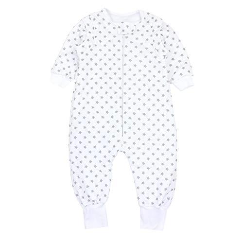 TupTam Baby Unisex Schlafsack mit Beinen und Ärmel Winter, Farbe: Sternchen Weiß/Grau, Größe: 80-86