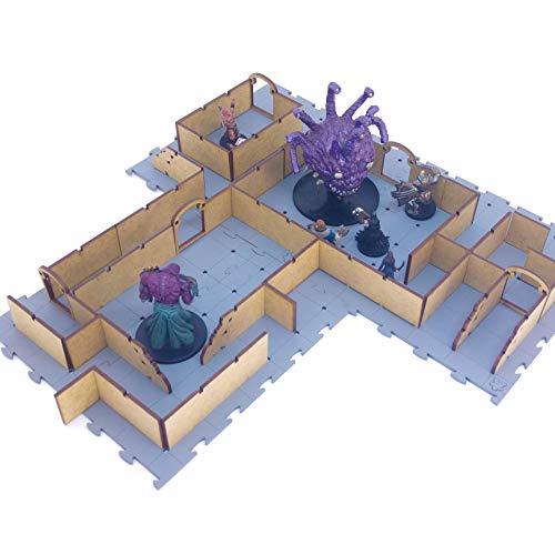 Mapa Tático Cenário Arena de Batalha Modular para RPG e Miniaturas - Puzzle Grid