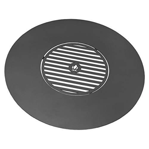 BlackOrange Grillplatte - Plancha aus Stahl Ø 102 cm mit Grillrost Ø 50 cm für Feuerschalen mit 100 cm Durchmesser