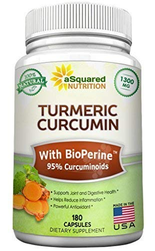 Pure Turmeric Curcumin 1300mg with BioPerine Black Pepper Extract - 180 Capsules - 95% Curcuminoids, 100% Natural Tumeric Root Powder Supplements, Natural Anti-Inflammatory Joint Pain Pills