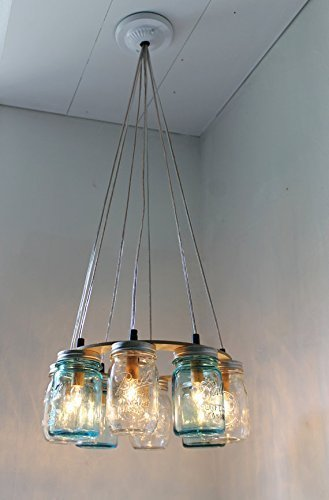 Amazon Com Mason Jar Chandelier Beach House Mason Jar Lighting Fixture Blue And Clear Jars Hanging Pendant Light Bootsngus Lighting Bulbs Included Handmade