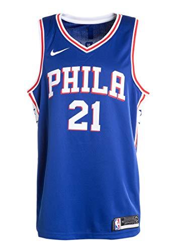 Nike Phi M Nk Swgmn JSY Road Trikot 2a Philadelphia 76Ers 17-18 Basketball Herren S blau (Rush Blue/weiß/University Red)