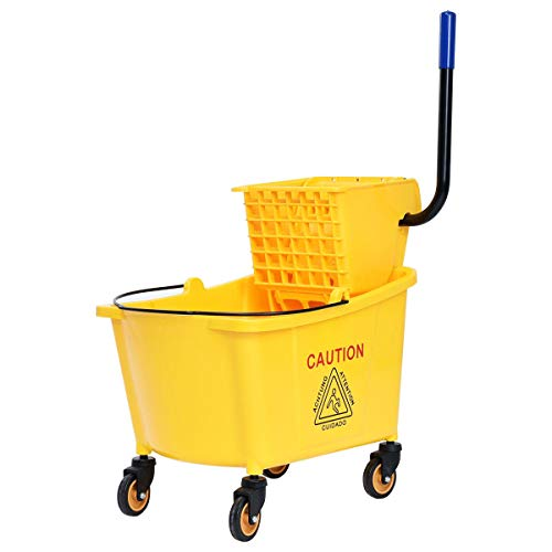 ReunionG Commercial Mop Bucket, Household Bucket with Wringer, Side Press Mop Bucket with Wheel and Handle, Side Press Wringer Trolley with Ergonomic Rocker for Easy Water Drain, Yellow (34 Quart)