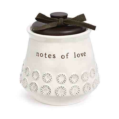 DEMDACO Notes of Love White 4.5 x 4.5 Inch Stoneware Decorative Jar
