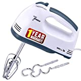 iBELL Whites Electric Hand Blender|Mixer|Beater and Cream Maker with 7 Speed Control, 2 Dough Hooks and 2 Beaters(White)