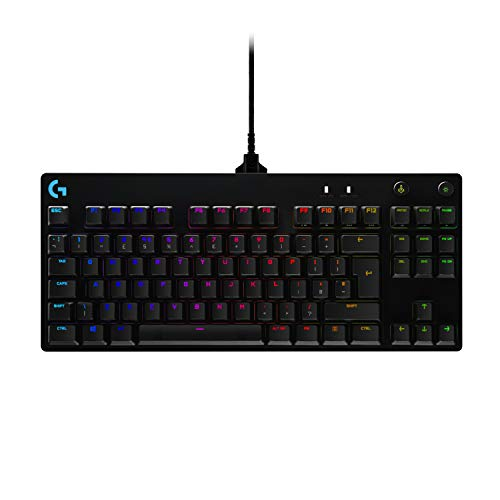 Logitech G Pro TKL Mechanische Gaming-Tastatur, GX Blue Clicky Key Switches, LIGHTSYNC RGB, tragbares Tenkeyless-Design für Sportspiele, abnehmbares Micro-USB-Kabel, UK-Layout, Schwarz