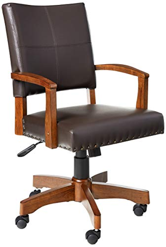 OSP Home Furnishings Deluxe Medium Brown Wood Bankers Chair with...