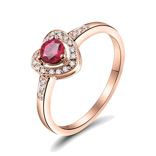 Daesar 18ct Rose Gold Band Ring Promise Rings Her, Heart With 0.45ct Ruby Wedding Band Rose Gold Ring Size J 1/2