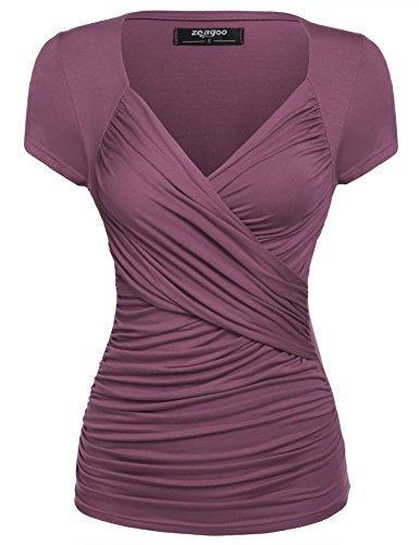 Zeagoo Damen Sommer Sexy T-Shirt V-Ausschnitt Kurzarm Tunika Shirt mit Falten Blusen Oberteile, 1_kirsche Lila, L