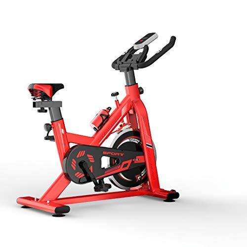 Zzxxo Bicicleta Estática de Spinning Profesional, Ajustable Resistencia, Pantalla LCD, Bicicleta EstáTica con Sensores De Pulso De Mano, Sillín Ajustable, Máx.150kg,Rojo