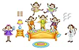Five Little Monkeys Jumping On The Bed Felts Flannel Board Story 26 pieces PRECUT plus 6 coloring/activity pages lesson suggestions