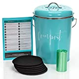 Modern Barnhaus Compost Bin for Kitchen Counter: Stainless Steel Countertop Compost Container as 1.3 Gallon Indoor Compost Bucket or Counter Composter Pail with Lid, 50 Compost Bags and 6 Charcoal s, Turquoise compost bins Feb, 2021