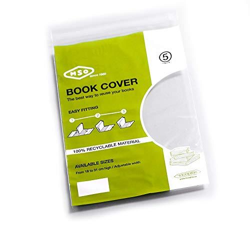 Forros para libro MSO, Medida 23 cm altura, ancho ajustable, Material LDPE Pack de 5 unidades.