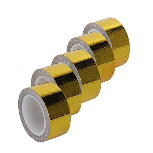 Hiwowsport Self Adhesive Reflect a Gold Heat Wrap Barrier 1x 15 Feet, Pack of 5