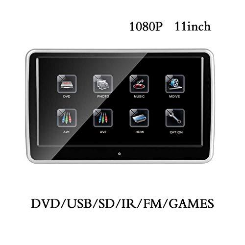 Coche reposacabezas monitor, R 11 pulgadas de pantalla táctil HD 1080P con DVD Reproductor de CD, Sensor de Teclas Transmisor HDMI USB SD incorporado de FM y el IR para Universial modelo de coche