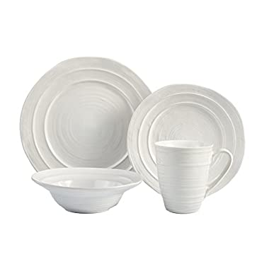 American Atelier Travertine 16 Piece Dinnerware Set, White