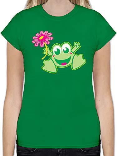 Blumen & Pflanzen - Frosch mit Blume - L - Grün - L191 - Tailliertes Tshirt für Damen und Frauen T-Shirt