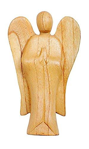Deko Figur Schutzengel Erzengel stehend aus Hibiskus Holz, Höhe 20 cm groß hell braun, Kunsthandwerk aus Bali Engel Holzengel betend