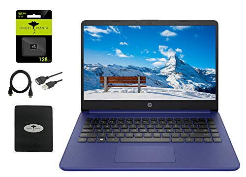 """2021 HP 14"""" HD Laptop Thin and Light, Intel Celeron N4020 (Up tp 2.8GHz), 4GB RAM, 64GB eMMC, 1 Year Office 365, Webcam, HDMI, WiFi, Google Classroom or Zoom Compatible,w/128GB SD Card, Accessories"""