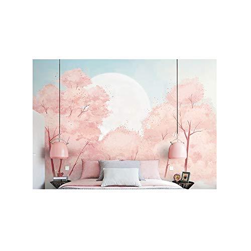 Blovsmile Japanese pink cherry blossom Tapete Wandbild Wallpaper 3D Wohnzimmer Schlafzimmer Restaurant Wand Foto Tv Zimmer Wandkunst-300 * 250