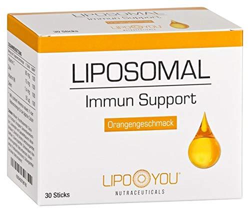 LIPOSOMAL Immun Support, Flüssig-Sticks mit Vitamin C, Zink, Selen und Vitamin B6, für ein funktionierendes Immunsystem, bei Müdigkeit und Erschöpfung, mit Orangen-Geschmack